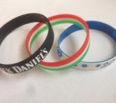 Силиконовые браслеты двухцветные, трехцветные